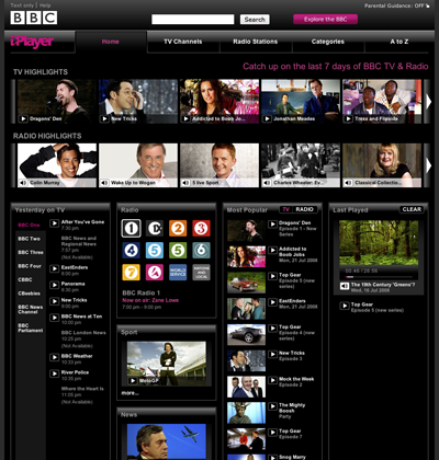 BBC iplayer 2 interface